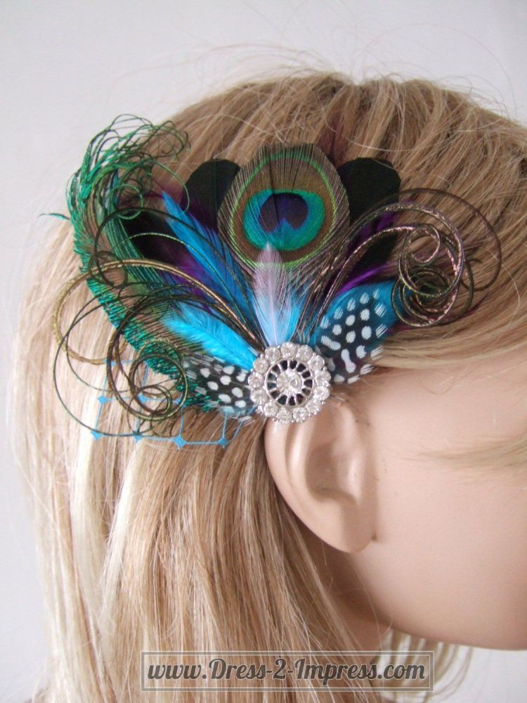 "Bridal Prom Turquoise Purple Peacock Feathers Fascinator Hair Clip ""Nenna"""